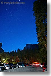 california, cars, curry village, nature, nite, parking, sky, star field, stars, vertical, west coast, western usa, yosemite, photograph