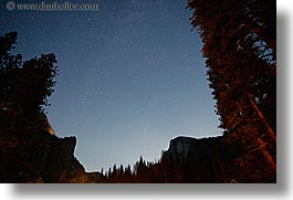 california, half dome, horizontal, long exposure, mountains, nature, nite, silhouettes, sky, star field, stars, upview, west coast, western usa, yosemite, photograph