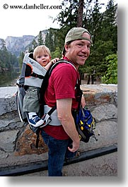 babies, boys, california, carrying, childrens, clothes, dans, families, fathers, hats, jacks, men, people, toddlers, trees, vertical, west coast, western usa, yosemite, photograph