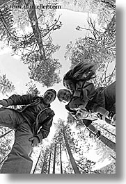 black and white, boys, california, childrens, clothes, dans, emotions, families, fathers, fisheye lens, happy, hats, jacks, jills, men, people, toddlers, trees, upview, vertical, west coast, western usa, womens, yosemite, photograph