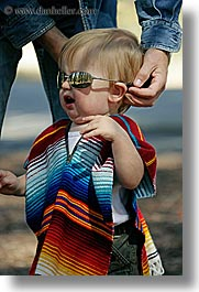 babies, boys, california, clothes, colorful, emotions, happy, jacks, people, poncho, sunglasses, toddlers, vertical, west coast, western usa, yosemite, photograph