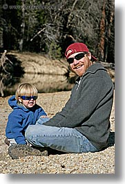boys, california, childrens, clothes, fathers, hats, jacks, men, people, sunglasses, toddlers, vertical, west coast, western usa, yosemite, photograph