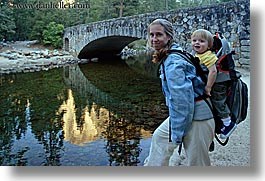 babies, boys, bridge, california, horizontal, jack and jill, jacks, jills, mothers, nature, people, rivers, structures, toddlers, water, west coast, western usa, womens, yosemite, photograph