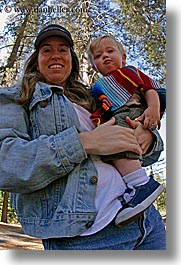 babies, boys, california, emotions, fisheye lens, happy, jack and jill, jacks, jills, mothers, people, toddlers, vertical, west coast, western usa, womens, yosemite, photograph