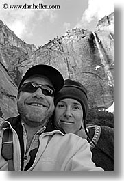 black and white, california, couples, dans, jills, people, vertical, west coast, western usa, womens, yosemite, photograph