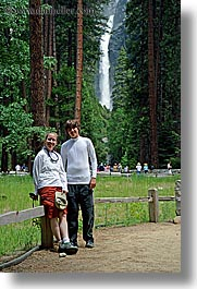 boys, california, chase, forests, jills, mothers, nature, people, plants, teenagers, trees, vertical, water, waterfalls, west coast, western usa, womens, yosemite, photograph
