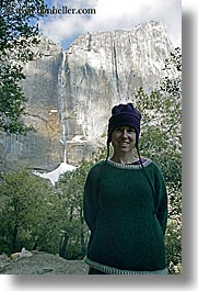 california, clothes, hats, jills, nature, people, snow, vertical, water, waterfalls, weather, west coast, western usa, womens, yosemite, yosemite falls, photograph