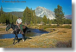 animals, california, horizontal, horses, mountains, nature, people, ranger, rivers, water, west coast, western usa, yosemite, photograph