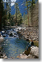 california, jills, nature, people, rocks, scenics, stream, trees, vertical, water, west coast, western usa, womens, yosemite, photograph