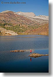 activities, california, fishermen, fishing, lakes, mountains, red, scenics, vertical, water, west coast, western usa, yosemite, photograph