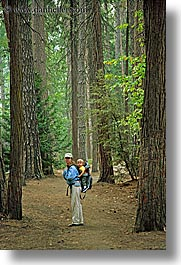 babies, boys, california, forests, jack and jill, mothers, toddlers, trees, vertical, west coast, western usa, womens, woods, yosemite, photograph