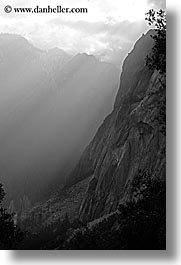 black and white, california, mountains, nature, sky, sun, sunbeams, valley, valley view, vertical, west coast, western usa, yosemite, photograph
