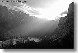 black and white, california, horizontal, mountains, nature, sky, sun, sunbeams, sunrays, valley, valley view, west coast, western usa, yosemite, photograph