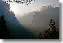bridalveil falls, california, clouds, dawn, fog, horizontal, nature, sky, sun, sunrise, trees, valley, valley view, water, waterfalls, west coast, western usa, yosemite, photograph