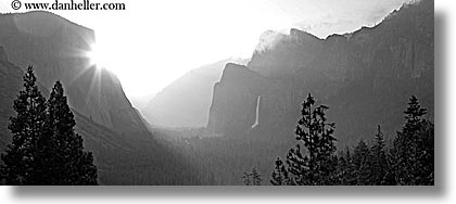black and white, bridalveil falls, california, clouds, dawn, fog, horizontal, nature, panoramic, sky, sun, sunrise, trees, valley, valley view, water, waterfalls, west coast, western usa, yosemite, photograph