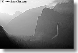 black and white, bridalveil falls, california, clouds, dawn, fog, horizontal, nature, valley, valley view, water, waterfalls, west coast, western usa, yosemite, photograph