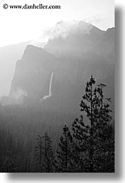 black and white, bridalveil falls, california, clouds, dawn, fog, nature, trees, valley, valley view, vertical, water, waterfalls, west coast, western usa, yosemite, photograph