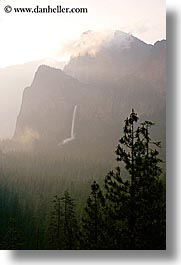 bridalveil falls, california, clouds, dawn, fog, nature, trees, valley, valley view, vertical, water, waterfalls, west coast, western usa, yosemite, photograph