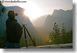 artists, california, clouds, dawn, horizontal, men, nature, people, photographers, sky, sun, sunrise, trees, valley, valley view, west coast, western usa, yosemite, photograph