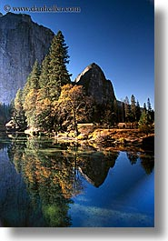 california, mountains, reflections, rivers, trees, vertical, water, west coast, western usa, yosemite, photograph