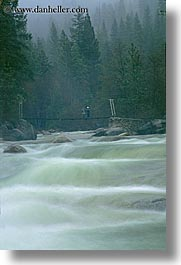 bridge, california, merced, mist, motion blur, nature, rivers, rushing, structures, swing bridge, vertical, water, west coast, western usa, yosemite, photograph