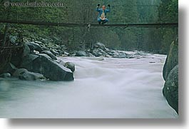 bridge, california, horizontal, jills, motion blur, people, rivers, structures, swing bridge, swings, water, west coast, western usa, womens, yosemite, photograph