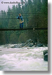 bridge, california, jills, motion blur, people, rivers, structures, swing bridge, swings, vertical, water, west coast, western usa, womens, yosemite, photograph