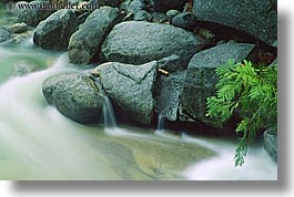 branches, california, horizontal, materials, motion blur, rocks, water, west coast, western usa, yosemite, photograph