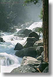 california, materials, rivers, rocks, vertical, water, west coast, western usa, white, yosemite, photograph