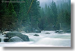 bridge, california, horizontal, mist, motion blur, nature, rivers, water, west coast, western usa, yosemite, photograph
