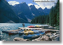 alberta, banff, canada, canadian rockies, canoes, horizontal, lake morain, lakes, moraine, mountains, wenkchemna peaks, photograph