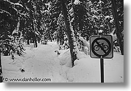 alberta, banff, bicycles, black and white, canada, canadian rockies, horizontal, mountains, signs, snow, photograph