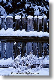 calgary, canada, fences, snow, vertical, photograph
