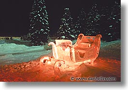 alberta, canada, canadian rockies, horizontal, ice, lake louise, mountains, sculptures, sled, photograph