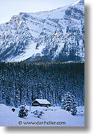 alberta, cabins, canada, canadian rockies, lake louise, mountains, snow, vertical, photograph