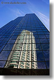 buildings, canada, reflections, vancouver, vertical, photograph