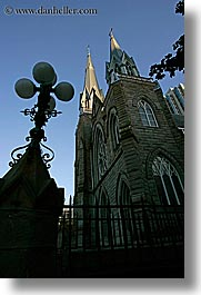 buildings, canada, churches, lamp posts, vancouver, vertical, photograph