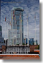 buildings, canada, shaw, towers, vancouver, vertical, photograph