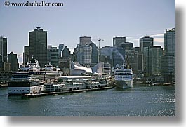 boats, canada, cityscapes, cruise ships, horizontal, ports, vancouver, water, photograph