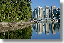 canada, cityscapes, horizontal, park, paths, reflections, stanley, vancouver, photograph