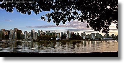 canada, cityscapes, horizontal, panoramic, reflections, vancouver, water, photograph