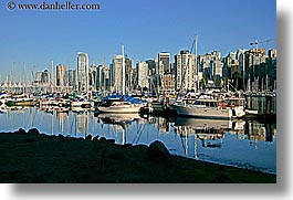 boats, canada, cityscapes, horizontal, reflections, vancouver, water, photograph