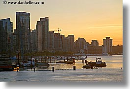 canada, cityscapes, horizontal, sunsets, vancouver, water, photograph