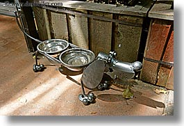 canada, doggie, granville island, horizontal, metal, vancouver, waterbowls, photograph