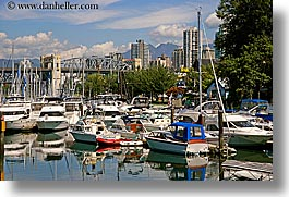 boats, bridge, canada, harbor, horizontal, vancouver, water, photograph