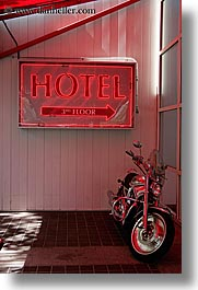 canada, hotels, motorcycles, signs, vancouver, vertical, photograph