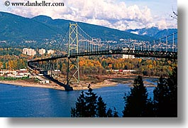 bridge, canada, gates, horizontal, lions, vancouver, photograph