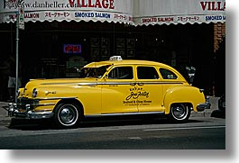 canada, horizontal, old, taxis, vancouver, yellow, photograph