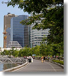buildings, canada, pedestrians, people, sidewalks, trees, vancouver, vertical, photograph