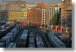 buildings, canada, cars, horizontal, railroad, vancouver, photograph